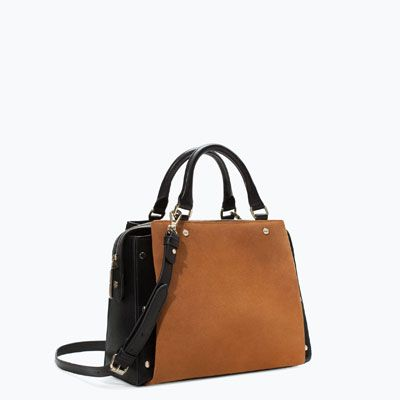 zara woman combined office. Combined Office City Bag From Zara. Love The Dark Camel Colour Contrasting Against Black, Great Shape, Yes Please! Zara Woman E