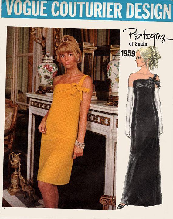 1960s Single Shoulder Sheath Cocktail Dress Vogue COUTURIER Design ...