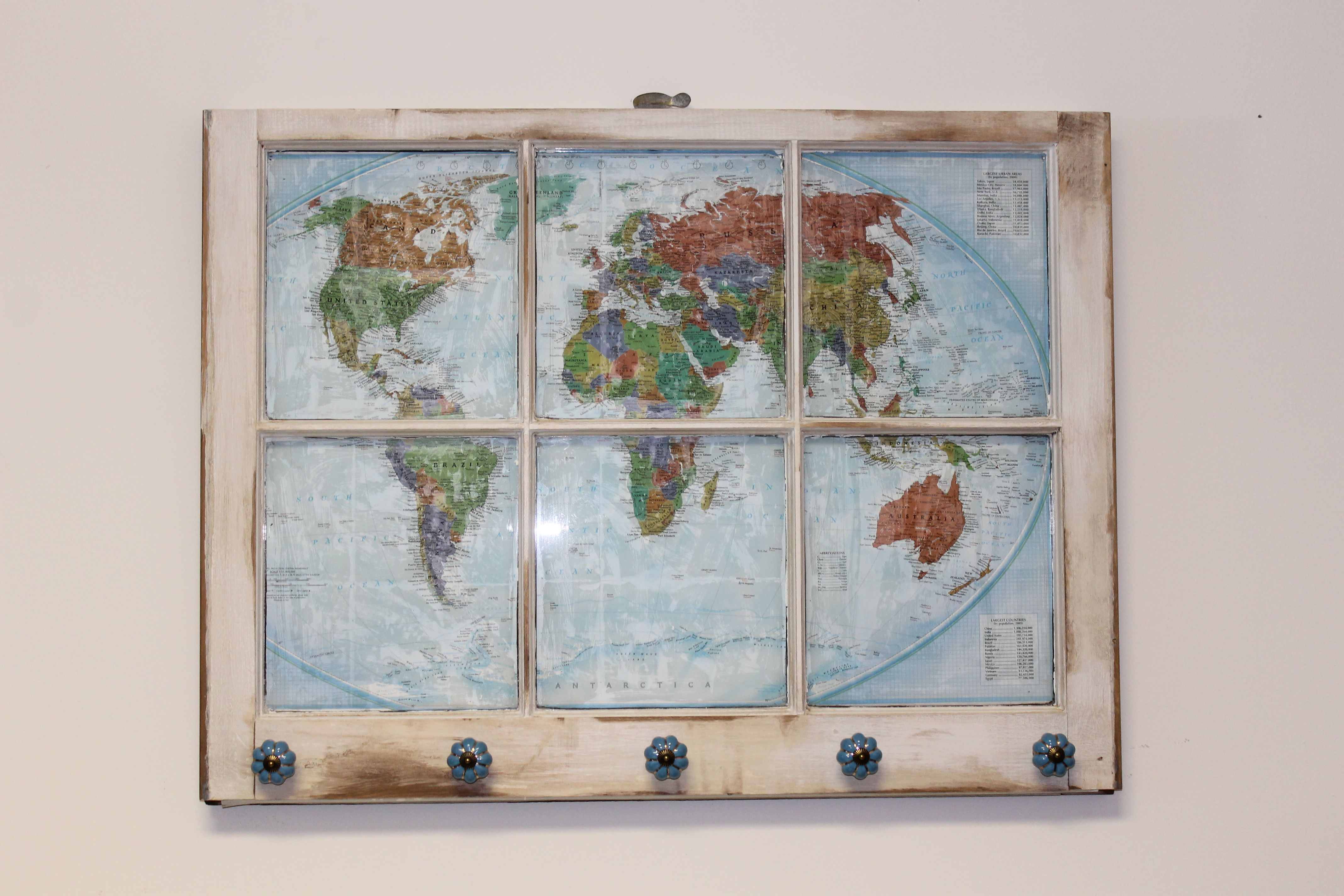 RESERVED Jewelry Organizer Necklace Rack Map Window