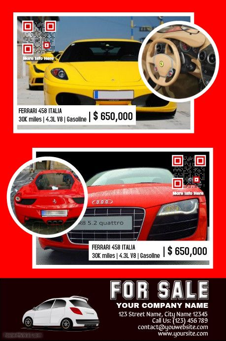Car for sale template - Made for two car listings - Red and black