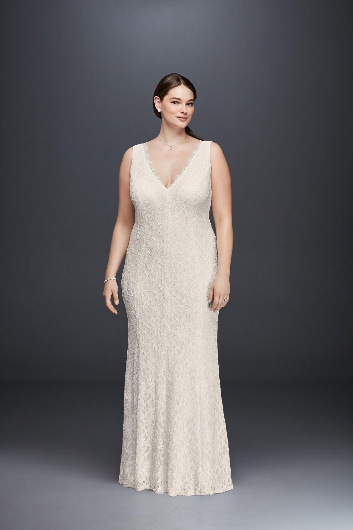 Allover Lace V Neck Plus Size Sheath Wedding Dress By Db Studio