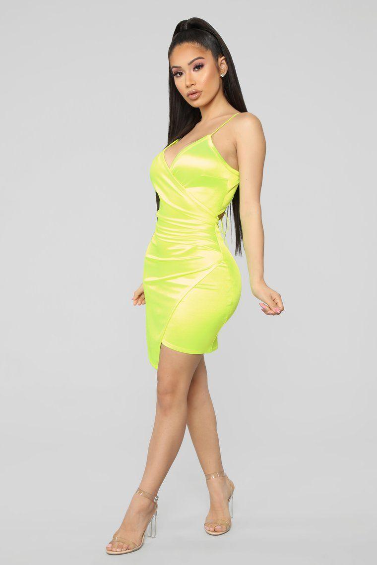 Bright Life Satin Dress Neon Yellow Dresses, Satin