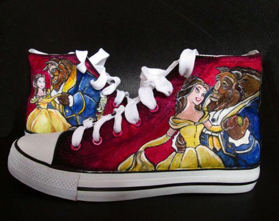 56f8a4d8196e Custom handpainted sneakers Beauty and the Beast Fanart
