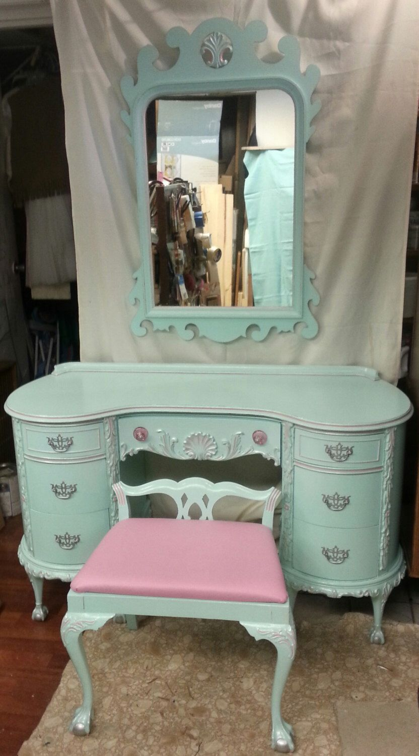 Circa 30s RARE Antique Chippendale Vanity Aqua Blue pink Silver Ornate  Salvaged Shabby Chic Dressing Table