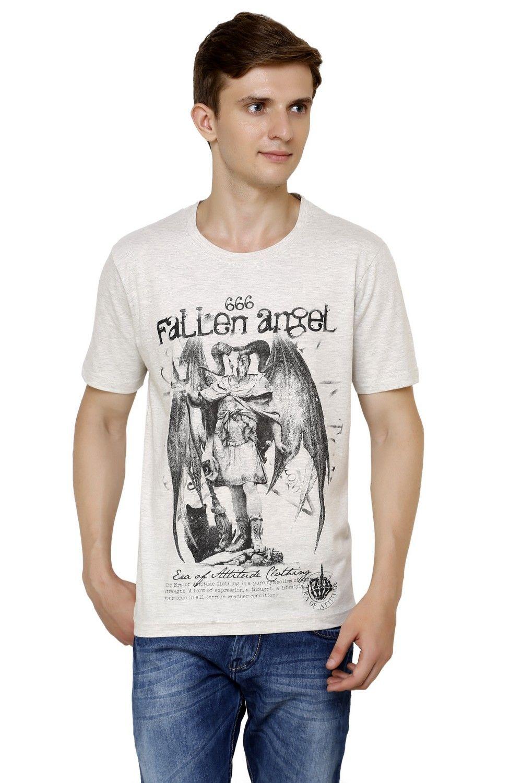409119c8e Era of Attitude 666 devil Lucifer fallen angel ecru off white round neck  Jersey street wear T-shirt