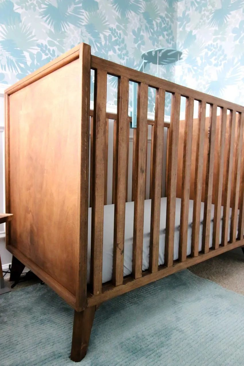 Diy Mid Century Crib Pdf Plans Diy Baby Furniture Baby Crib