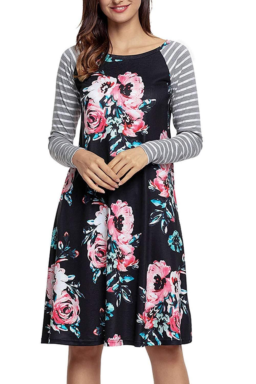 8d1f41cc72 HOTAPEI Women s Floral Print Casual Short Sleeve A-line Loose T-Shirt  Dresses Knee