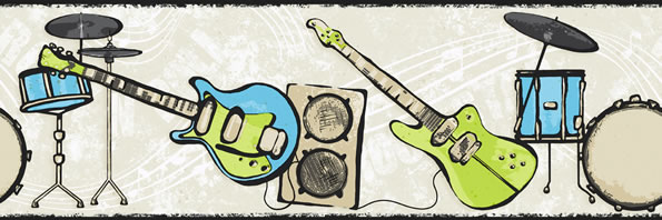 Rock and Roll Guitar Wallpaper Border, CK7782B drum music