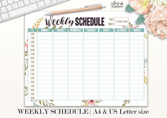 Weekly Schedule Printable Hourly Planner Weekly Organizer Schedule