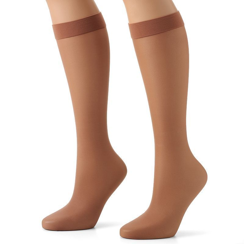 Hanes Silk Reflections Lasting Sheer 2-pk. Knee-Highs, Women's, Brown