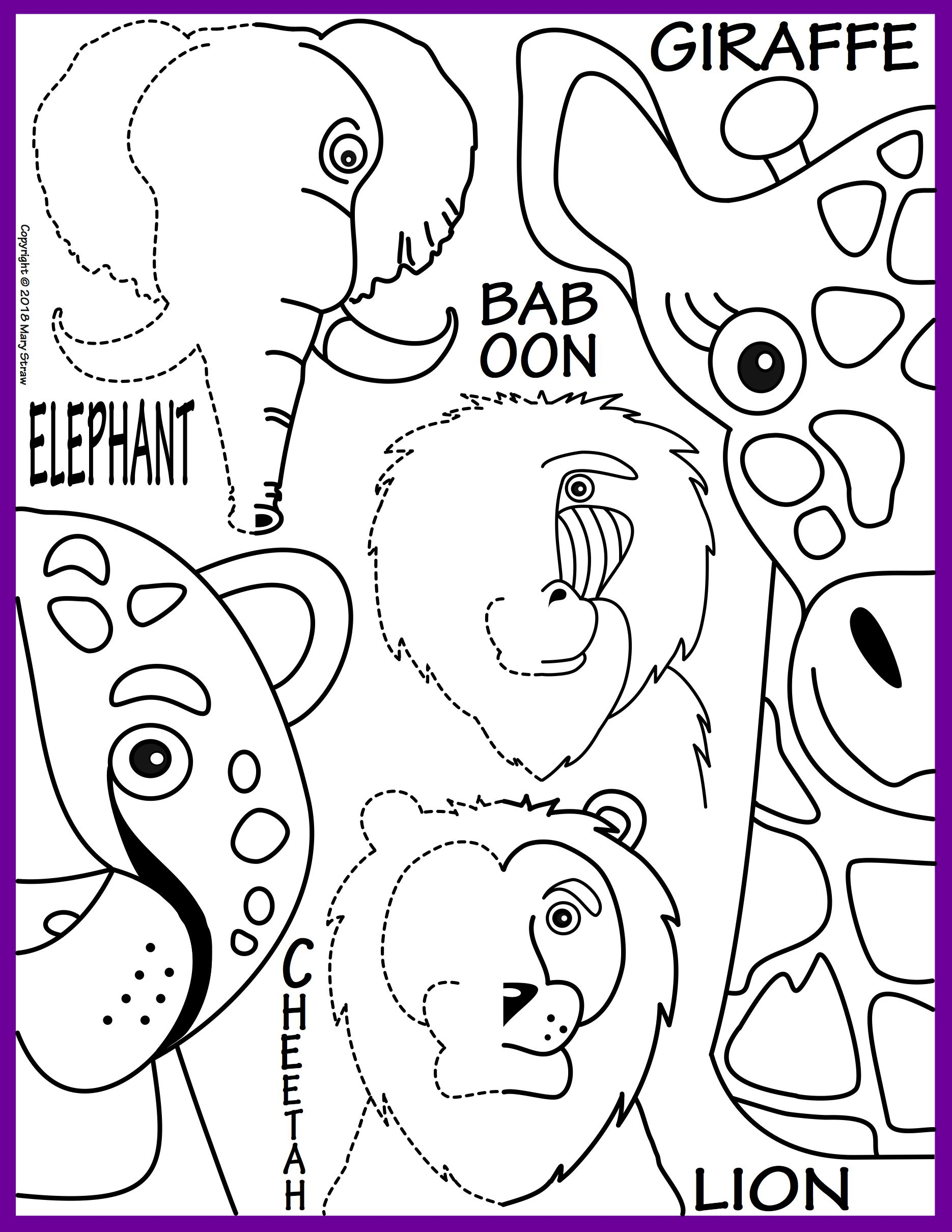 Jungle Animals Symmetry Activity Coloring Pages