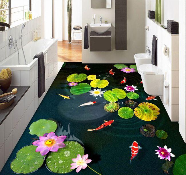 rev tement sol personnalise les n nuphars et les poissons dans l 39 tang sticker sol paysage. Black Bedroom Furniture Sets. Home Design Ideas