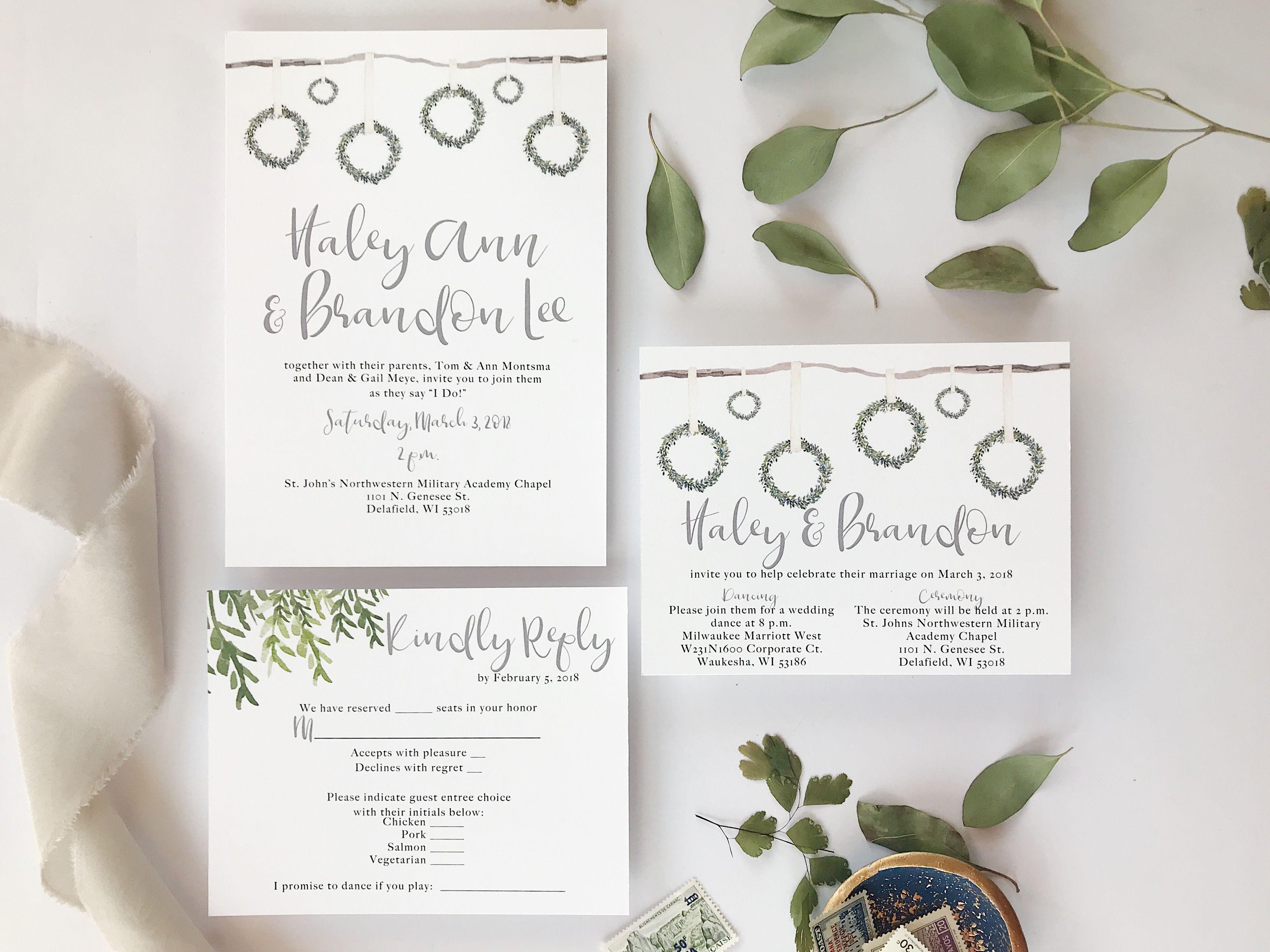 Wedding Invitation Reveal Rustic Wreath By Unica Forma Wreaths