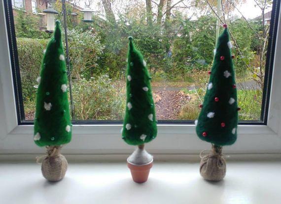 Needle felted Christmas tree  topairy tree ornament.