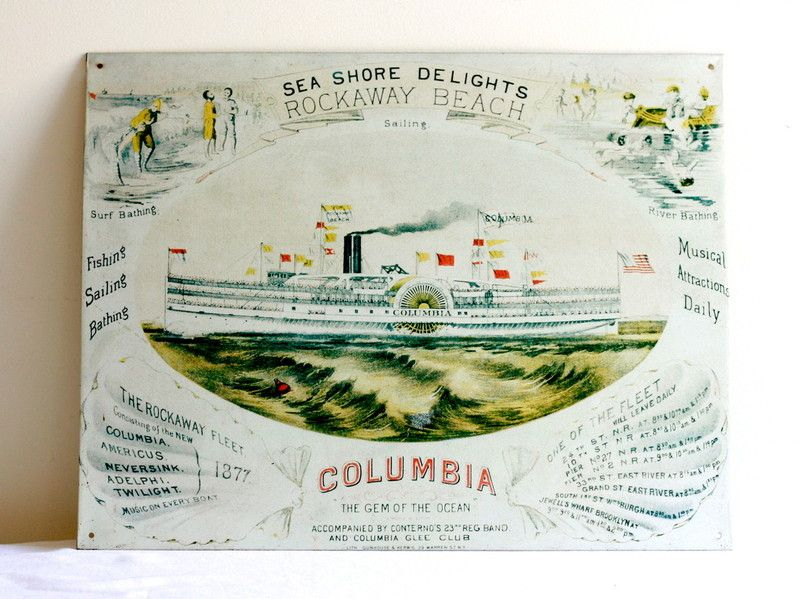 old vintage sign of the ship Columbia. 1993 by the NY Historical Society
