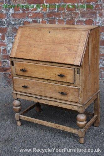 Stripped Light Oak Bureau Desk With Two Drawers Ebay