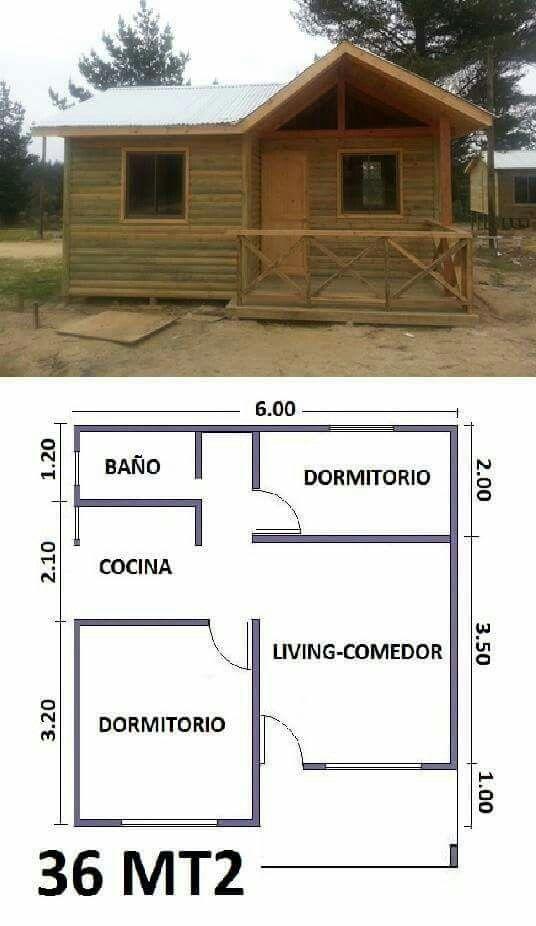 Distribuci n de caba a ideas pinterest planos casas for Planos y fachadas de casas pequenas