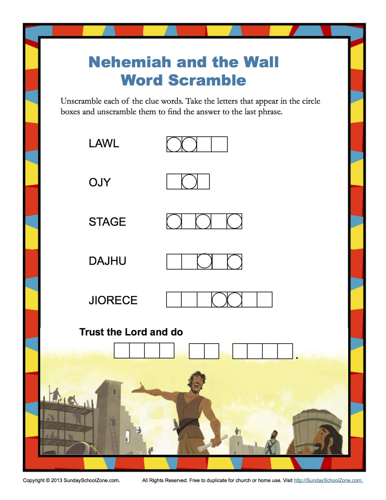 Nehemiah and the Wall Word Scramble