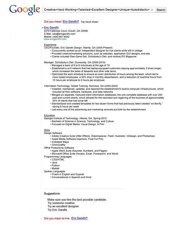 Cv Google Style Creative Resume Best Resume Resume Examples