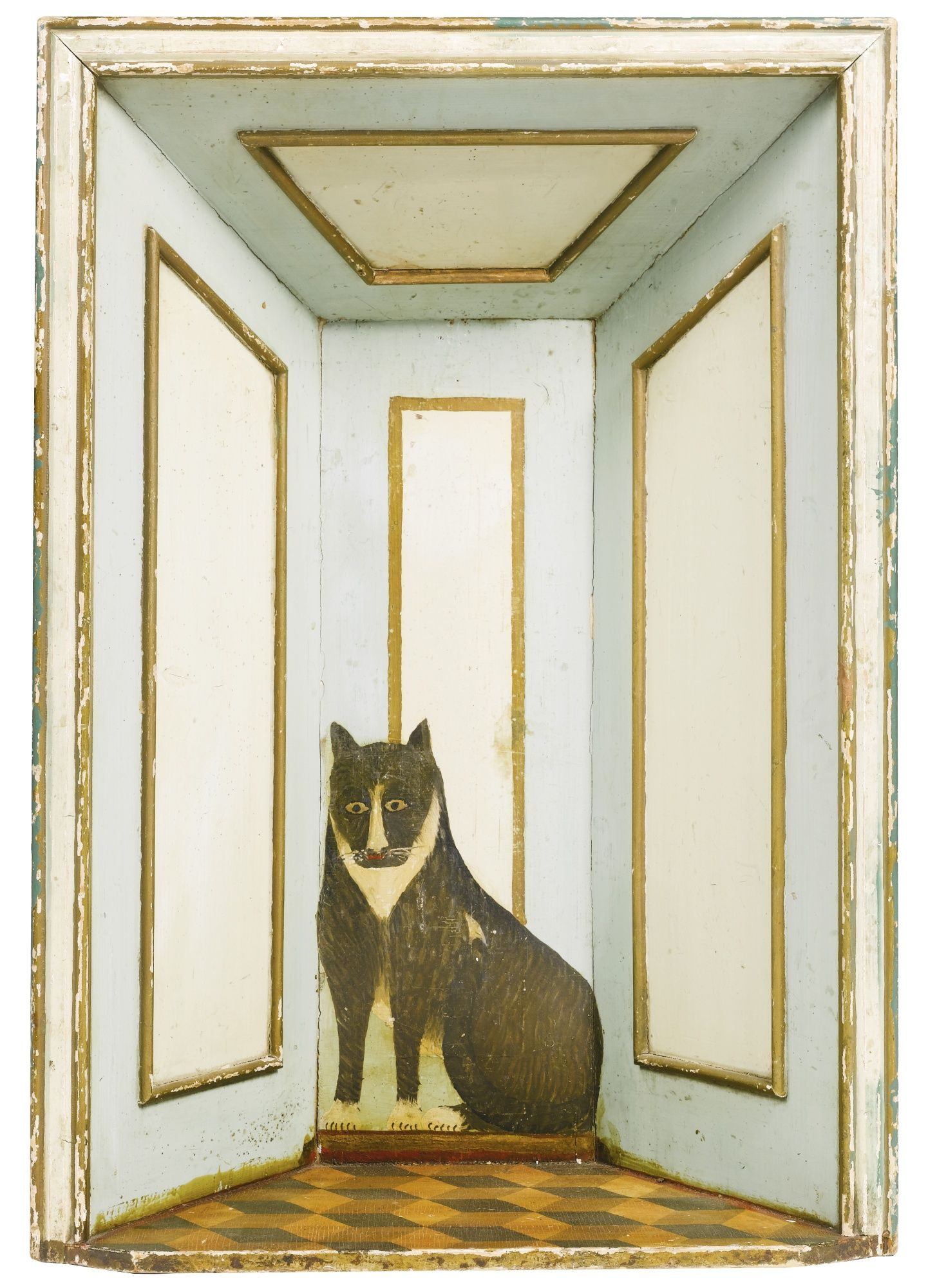 DUMMY BOARD CHIMNEYPIECE INSET - painted pine, a trompe l'oeil of a cat seated on a parquet floor within a panelled room, ca. 1900, England.