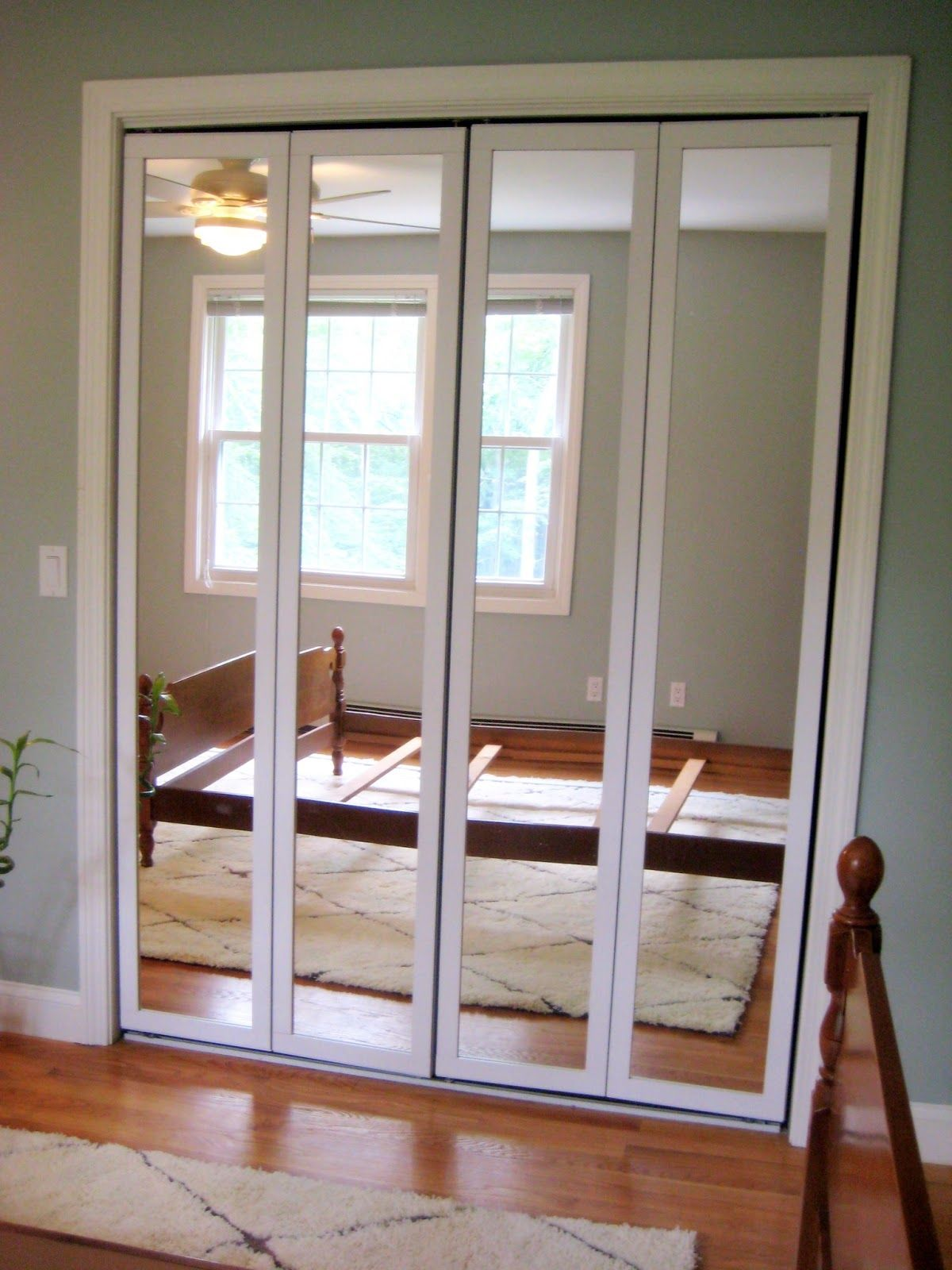 Hallway closet door  A Homeownerus Touch Updating BiFold Mirrored Doors  home design