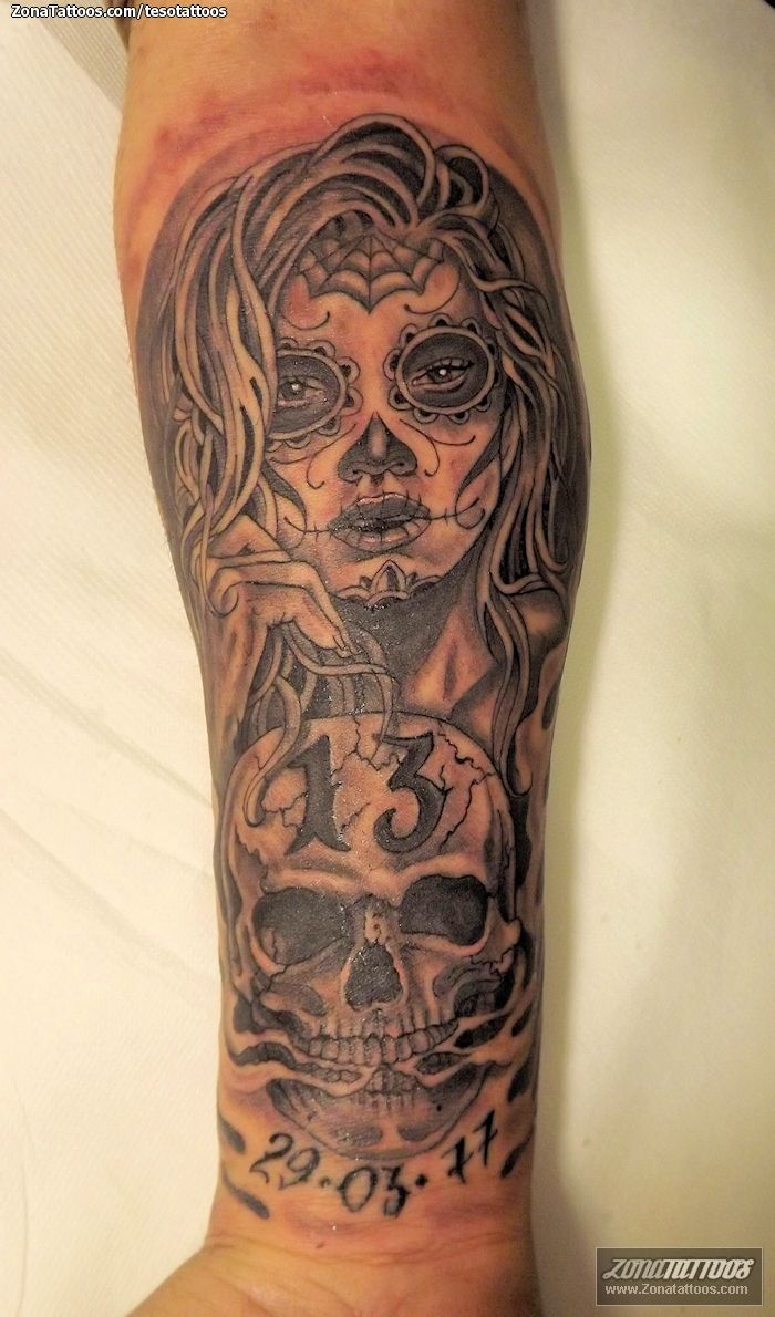 Tatuaje De Catrinas Calaveras Antebrazo Tattoo Tatuajes