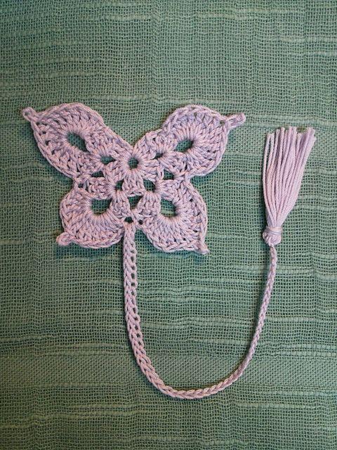 Ravelry: kkum0108\'s Butterfly bookmark - free pattern: http://www ...