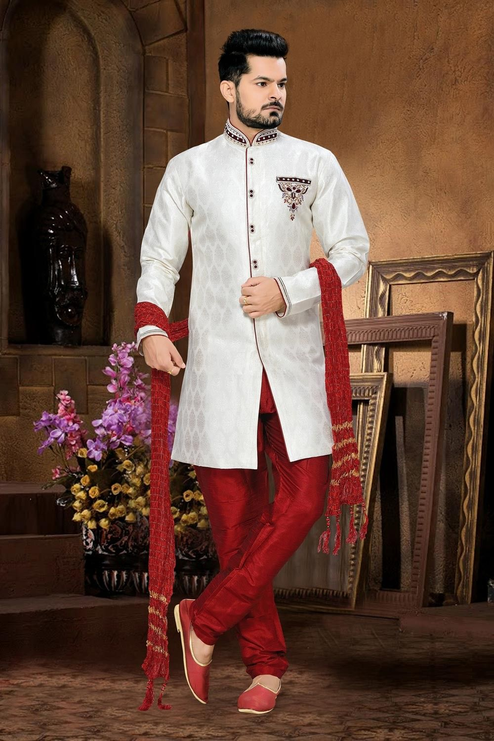 Wedding Wear White Indian Men 39 S Sherwani In Jacquard