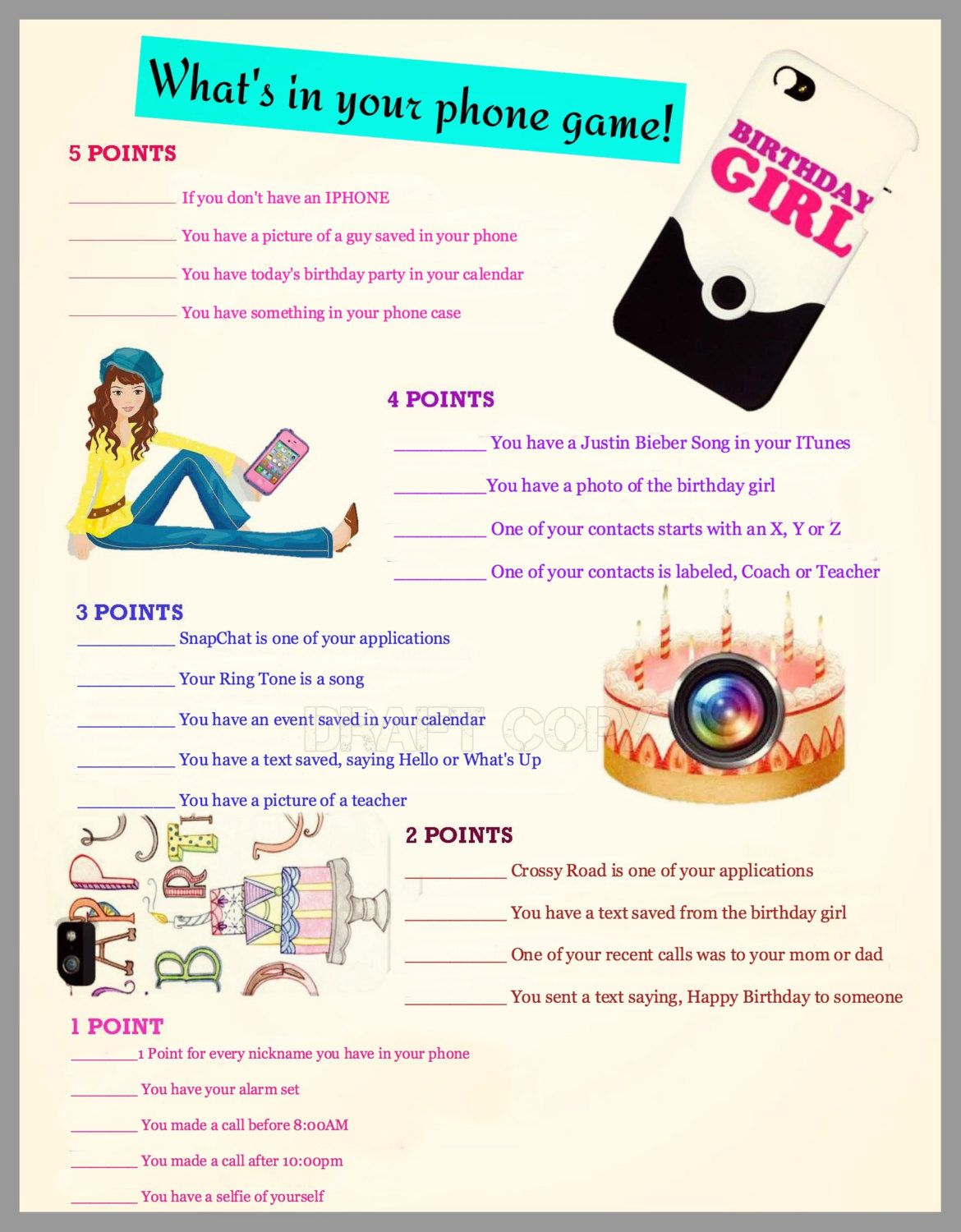 Girls Birthday Party GameWhats in your phone Girls