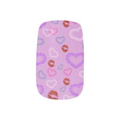 Valentine's Day Minx Nail Art--Hearts & Kisses Minx Nail Art | Zazzle.com
