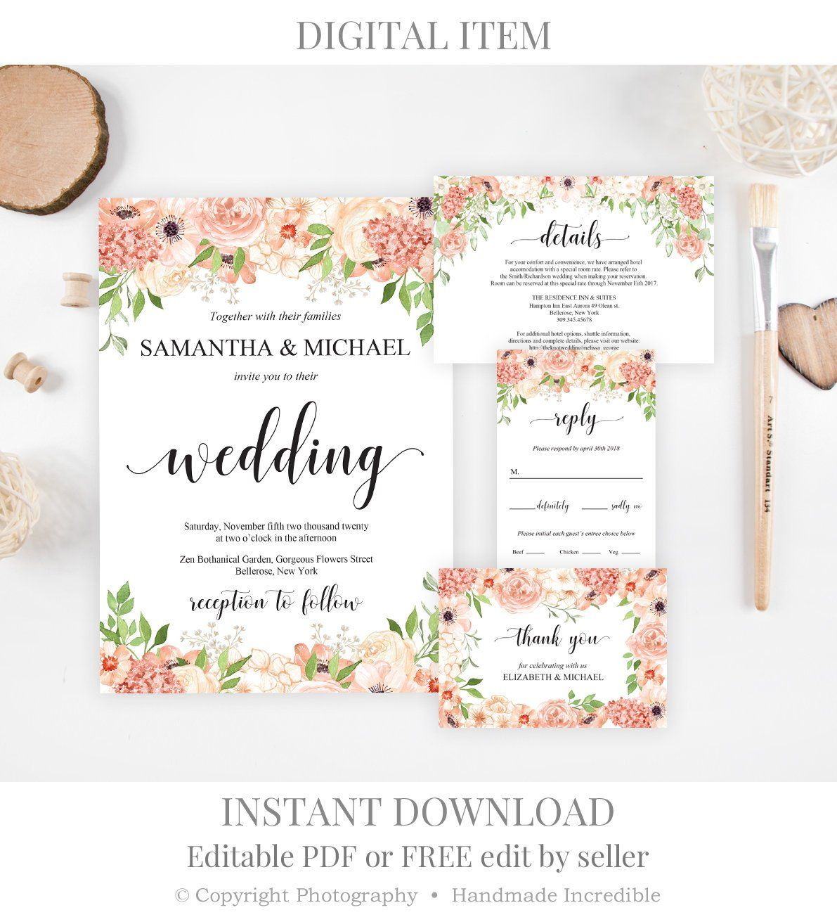 Places To Print Wedding Invitations: Peach And Cream Wedding Invitation Set Template. Printable