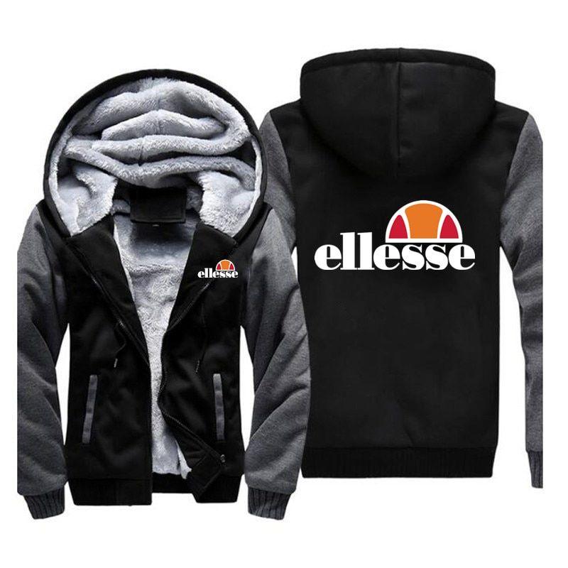 be5fc36a7 2018 New Fashion Brand Men/Women Ellesse Zipper Hooded Casual Sweatshirt  Winter Thickened Warm Hoody Hip Hop plus size M-5XL Review