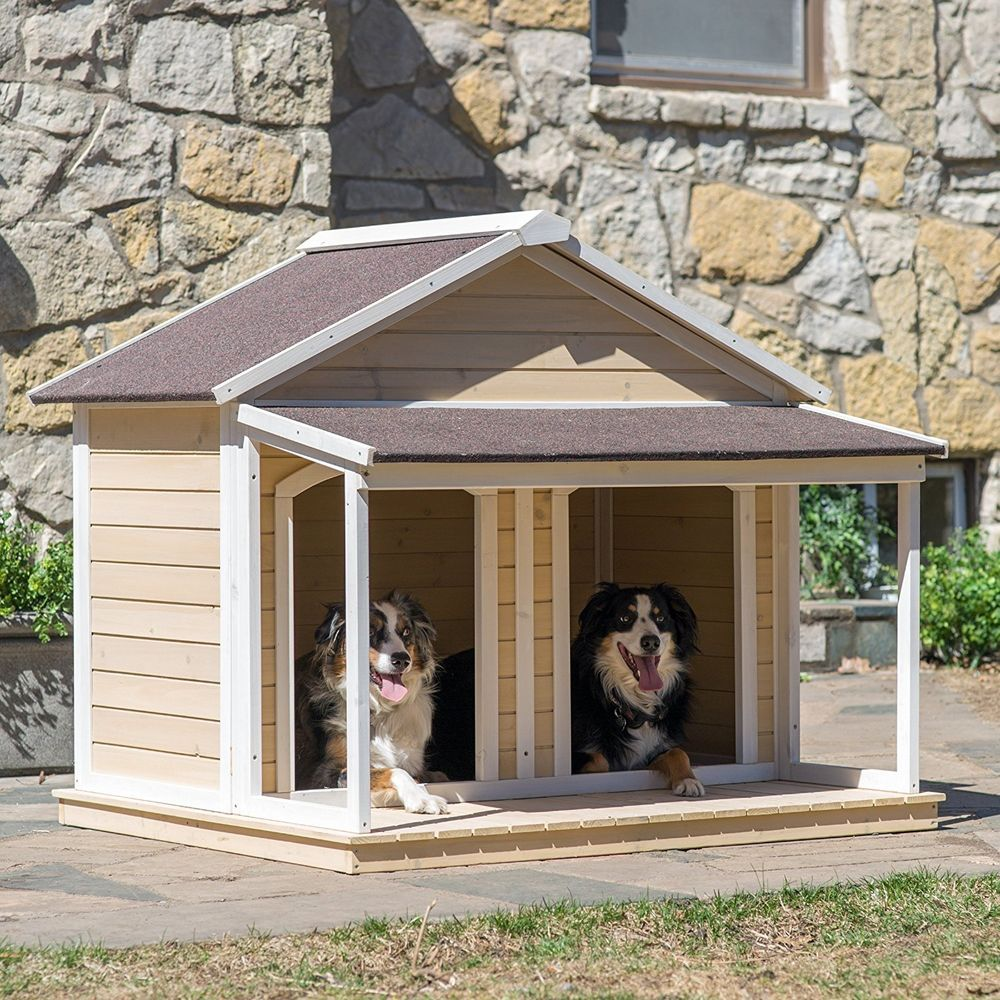 Dog Houses For Two Dogs Duplex Covered Porch Wood Outdoor Kennel
