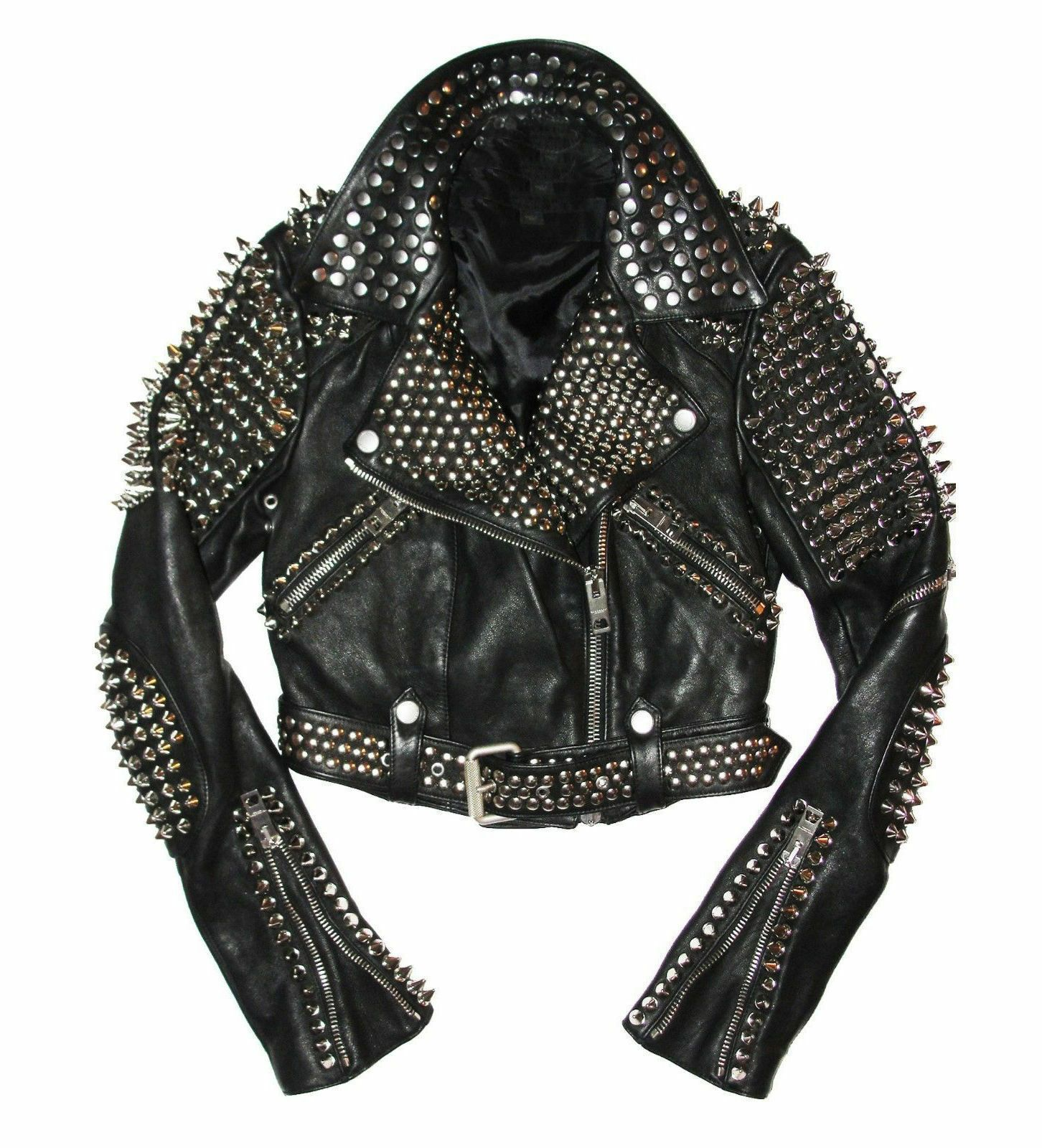 Mens Full Black Punk Brando Silver Spiked Studded Cowhide