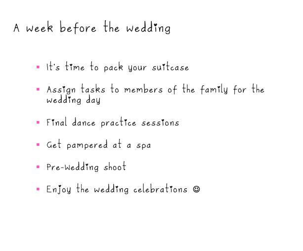 A Week Before The Wedding Wedding Shoot Wedding Checklist Wedding