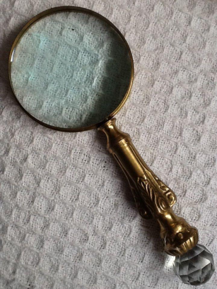 Antique Brass Crystal Magnifying Glass Prism Gem Jewel Handle