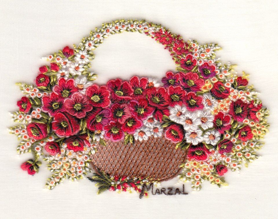 Fabulous hand embroidered basket of flowers by pilar