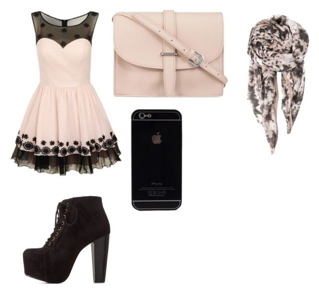 """Off pink and black outfit"" by gabbster1233 on Polyvore"