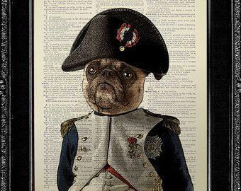 Print Poster Dictionary Art Print Pug Dog Pug Art Pug Print
