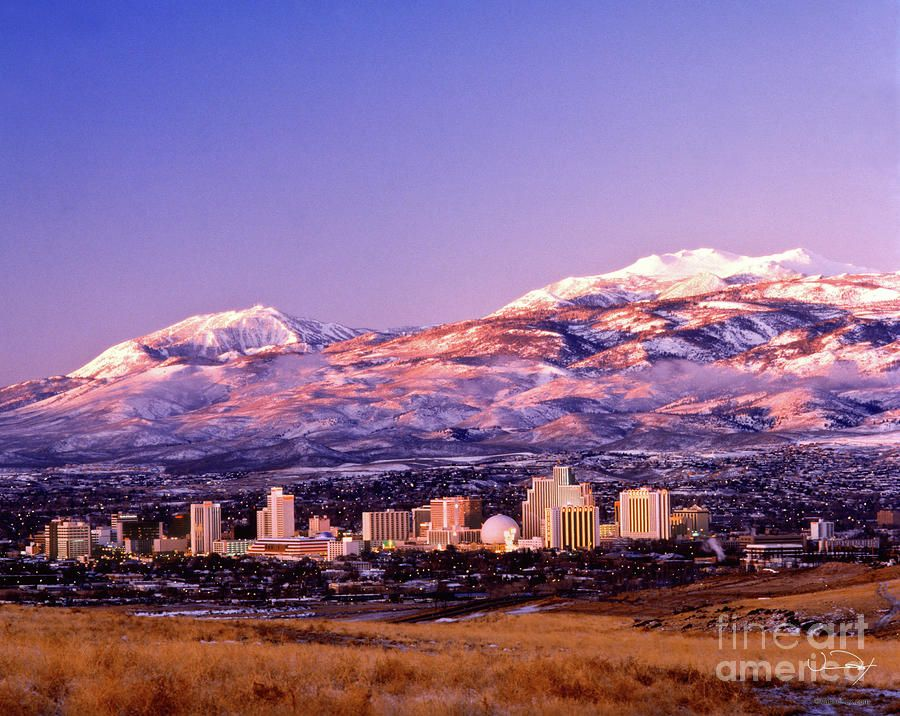 Winter Skyline Of Reno Nevada By Vance Fox Reno Nevada Nevada