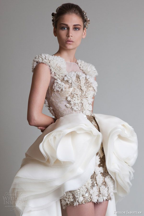 krikor jabotian fall 2013 couture cap sleeve dress overskirt close up