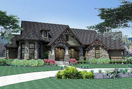 Plan 16806WG: Attractive in Stone | Mountain house plans, Mountain ...