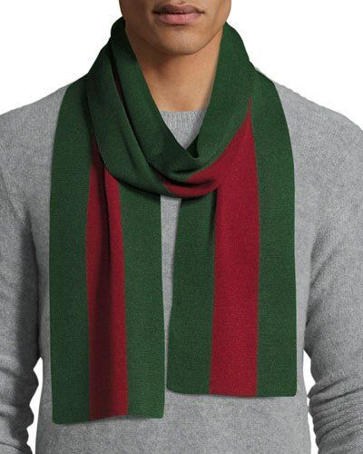 8ad3418d8e9c9 GUCCI Wool-Silk Knit Web Scarf