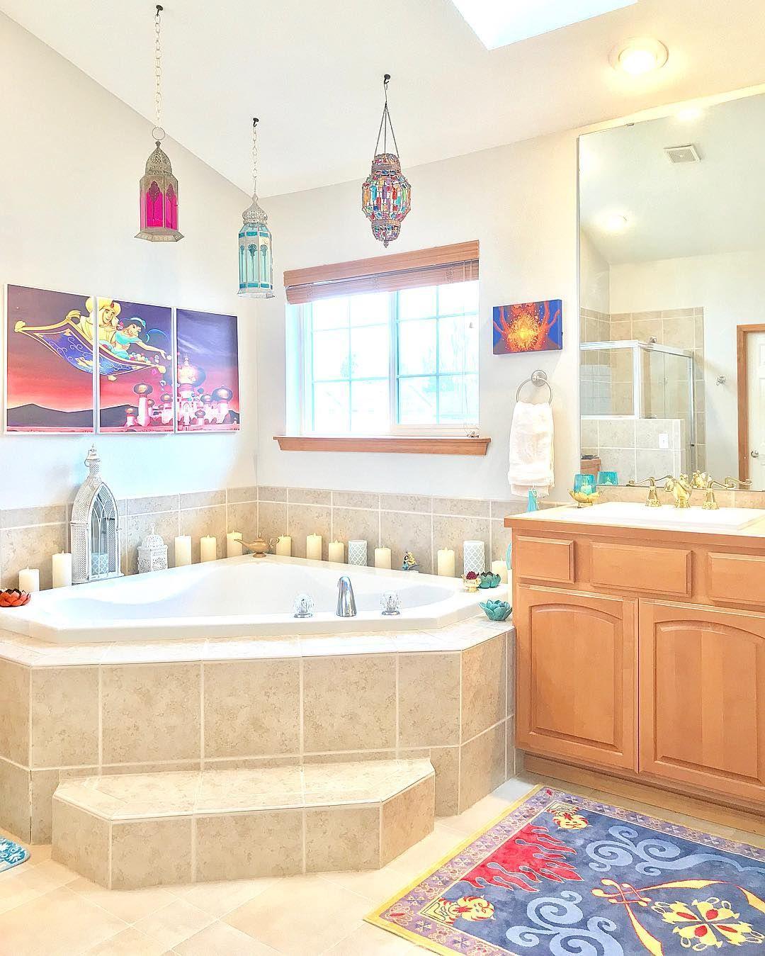 𝕂𝕖𝕝𝕤𝕖𝕪 𝕄𝕚𝕔𝕙𝕖𝕝𝕝𝕖 On Instagram Our Aladdin Master Bathroom Is Definitely One Of My Favorite Disney Room Decor Disney House Ideas Disney Bathroom