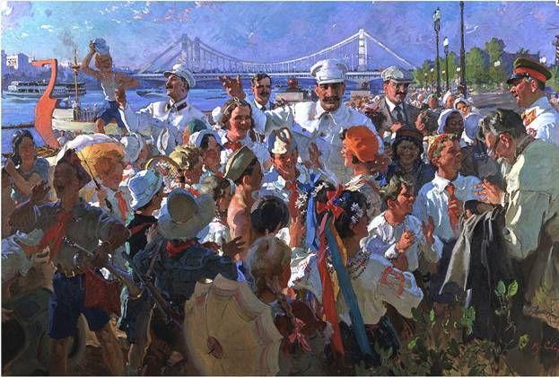 Resultado de imagen de Stalin y los miembros del Buró Político con los niños en el Parque Gorki