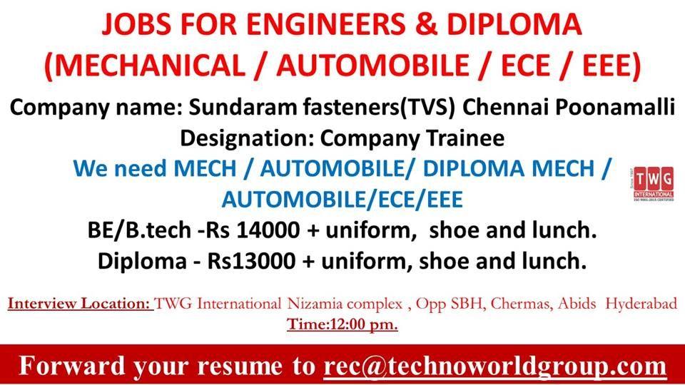 JOBS FOR ENGINEERS & DIPLOMA ( MECHANICAL /