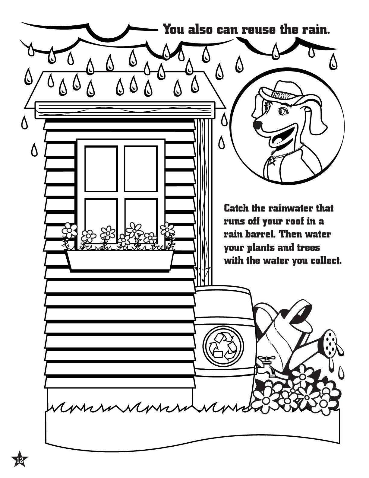 Rainwater Harvesting Coloring Page Rainwaterharvesting