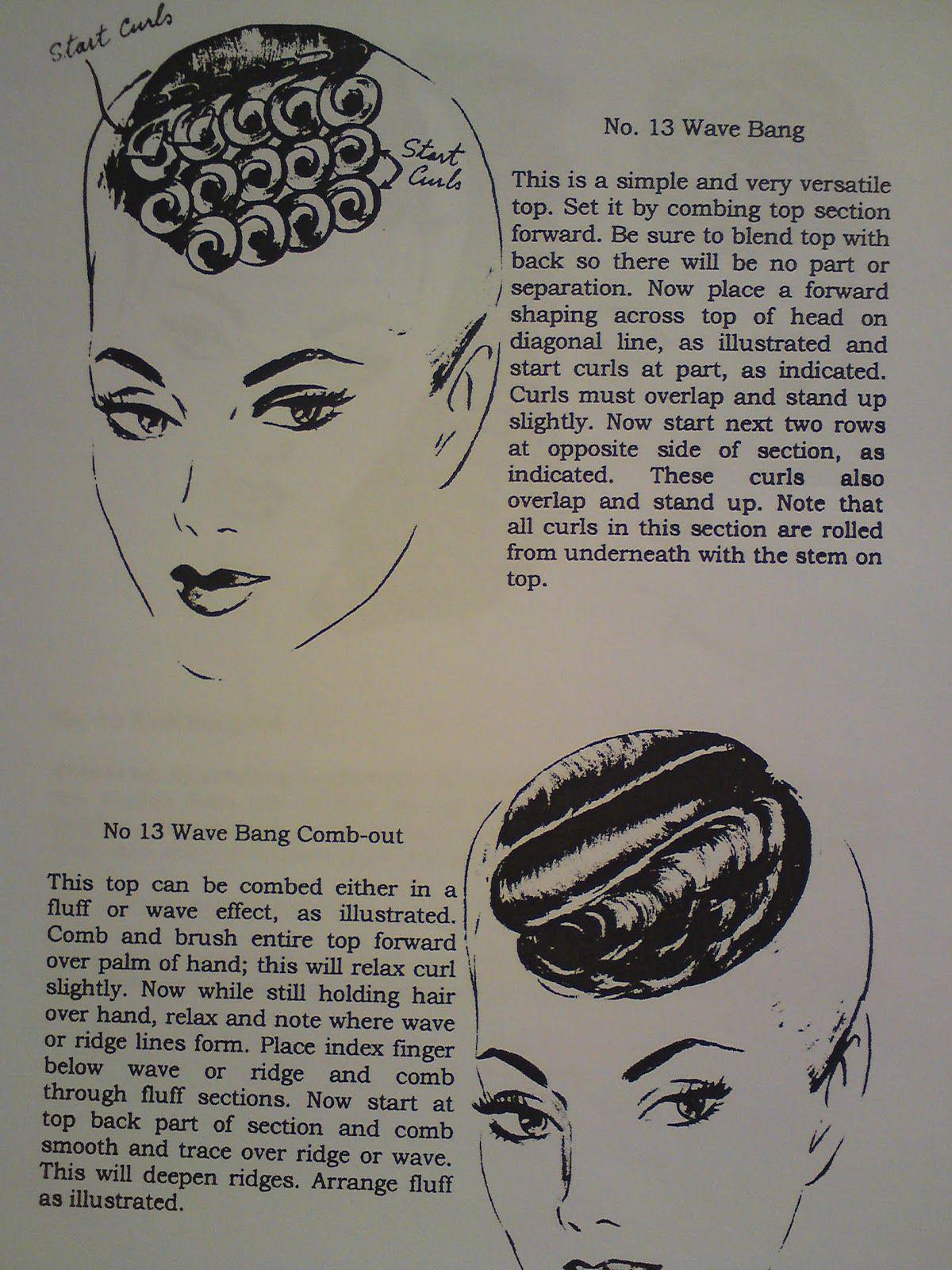 vintage pin curls diagram nervous tissue curl instructional culturebee co how to make wave bangs hair tutorial rh pinterest com roller set placement diagrams