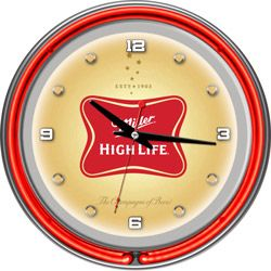 Miller High Life Neon Wall Clock Miller High Life Neon Clock Wall Clock