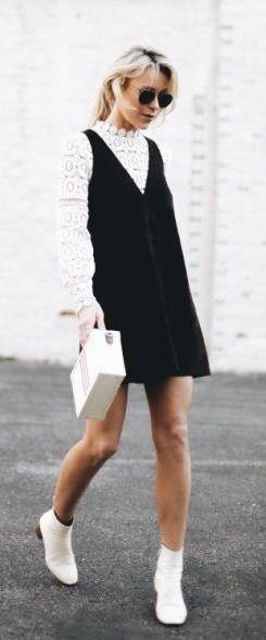 78100223 layering goals; white lace shirt under black suede dress   Wardrobe ...